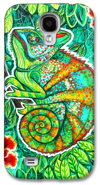 Chameleon Galaxy S4 Cases - Chameleon With Orchids Galaxy S4 Case by Genevieve Esson