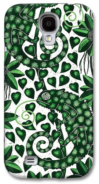 Chameleon Galaxy S4 Cases - Chameleons Tall, 2013 Woodcut Galaxy S4 Case by Nat Morley
