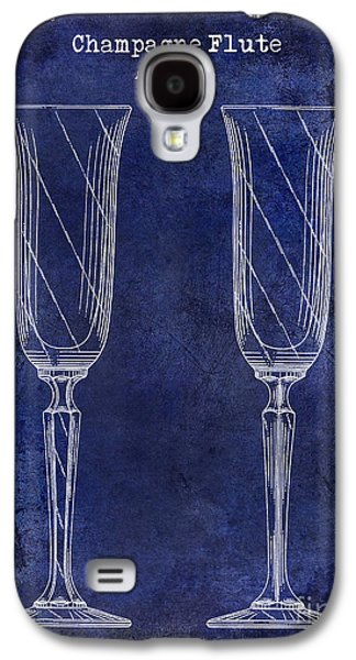 Champagne Glasses Galaxy S4 Cases - Champagne Flute Patent Drawing Blue Galaxy S4 Case by Jon Neidert