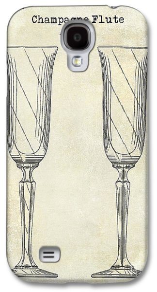 Champagne Glasses Galaxy S4 Cases - Champagne Flute Patent Drawing  Galaxy S4 Case by Jon Neidert