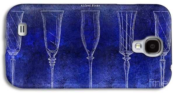 Champagne Glasses Galaxy S4 Cases - Champagne Flutes Design Patent Drawing Blue Galaxy S4 Case by Jon Neidert