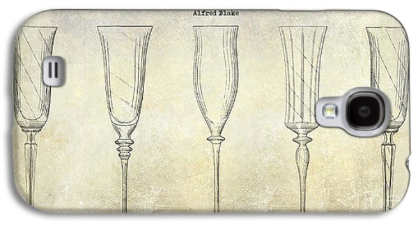 Champagne Glasses Galaxy S4 Cases - Champagne Flutes Design Patent Drawing Galaxy S4 Case by Jon Neidert