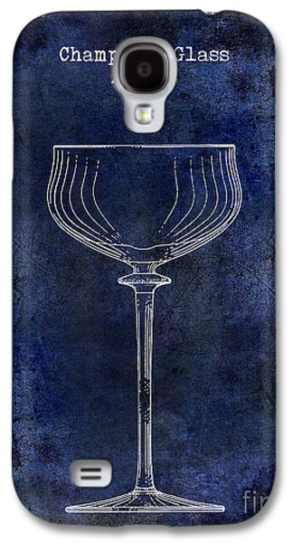 Champagne Glasses Galaxy S4 Cases - Champagne Glass Patent Drawing Blue 2 Galaxy S4 Case by Jon Neidert