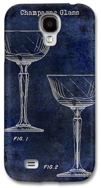 Champagne Glasses Galaxy S4 Cases - Champagne Glass Patent Drawing Blue Galaxy S4 Case by Jon Neidert