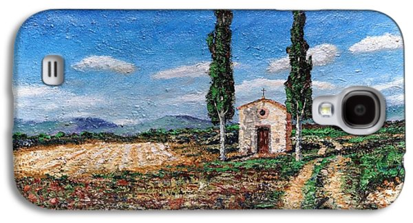 Italian Photographs Galaxy S4 Cases - Chapel And Two Trees, Tuscany, 2005 Oil On Board Galaxy S4 Case by Trevor Neal