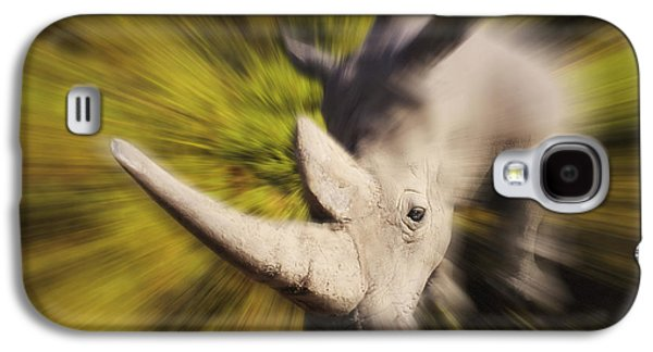 One Horned Rhino Galaxy S4 Cases - Charging Rhinocerosafrica Galaxy S4 Case by Thomas Kitchin & Victoria Hurst