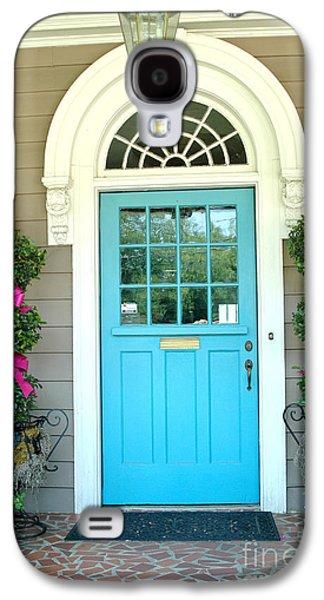 Garden Scene Galaxy S4 Cases - Charleston Aqua Teal French Quarter Doors - Charleston Aqua Blue Teal Garden Door Galaxy S4 Case by Kathy Fornal
