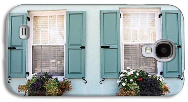 Garden Scene Galaxy S4 Cases - Charleston Aqua Teal French Quarter Rainbow Row Flower Window Boxes Galaxy S4 Case by Kathy Fornal