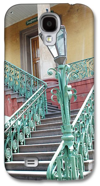 Historical Buildings Galaxy S4 Cases - Charleston Aqua Teal French Quarter Staircase - Charleston Architecture  Galaxy S4 Case by Kathy Fornal