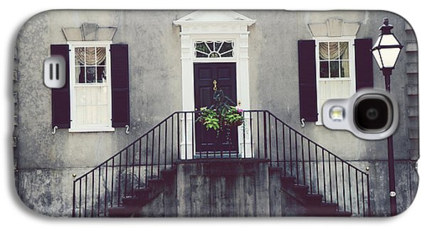Historic Home Galaxy S4 Cases - Charleston French Quarter Historial District Mansion - Charleston Black Grey White House and Lantern Galaxy S4 Case by Kathy Fornal
