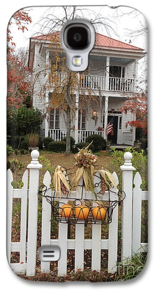 Photographs With Red. Galaxy S4 Cases - Charleston Historical Victorian Mansion - Charleston Autumn Fall Trees and White Picket Fence Galaxy S4 Case by Kathy Fornal