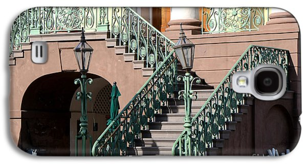 Historical Buildings Galaxy S4 Cases - Charleston Historical District Staircase and Lanterns - Aqua Teal Staircase Architecture  Galaxy S4 Case by Kathy Fornal
