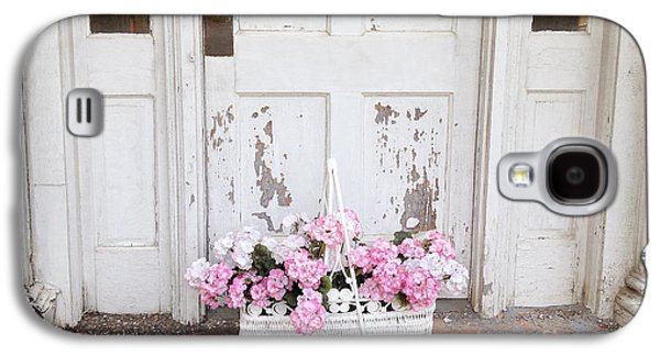 Old Door Galaxy S4 Cases - Charleston Shabby Chic Vintage Cottage Old Door With Basket of Flowers Galaxy S4 Case by Kathy Fornal
