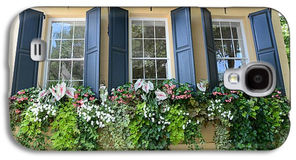 Garden Scene Galaxy S4 Cases - Charleston Window Box Flower Photography - Charleston Yellow Blue Green Floral Window Boxes Galaxy S4 Case by Kathy Fornal
