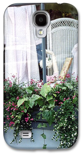 Garden Scene Photographs Galaxy S4 Cases - Charleston Window Boxes - Charleston Flowers Window Box and Lingerie Shop  Galaxy S4 Case by Kathy Fornal