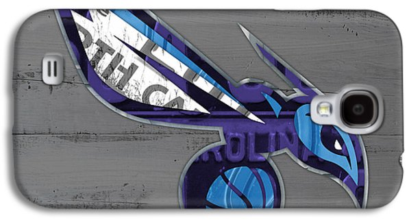 Charlotte Mixed Media Galaxy S4 Cases - Charlotte Hornets Basketball Team Logo Vintage Recycled North Carolina License Plate Art Galaxy S4 Case by Design Turnpike