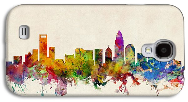 Carolina Galaxy S4 Cases - Charlotte North Carolina Skyline Galaxy S4 Case by Michael Tompsett