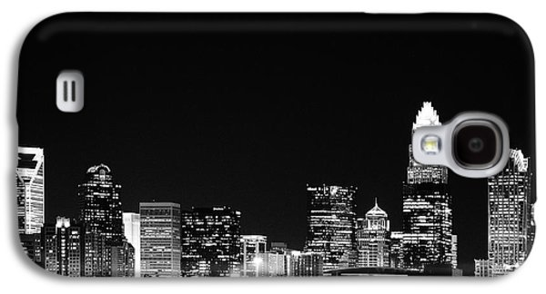 Charlotte Skyline At Night Black And White Galaxy S4 Case by Fred Koehl