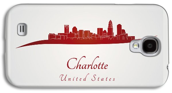 Charlotte Digital Galaxy S4 Cases - Charlotte skyline in red Galaxy S4 Case by Pablo Romero