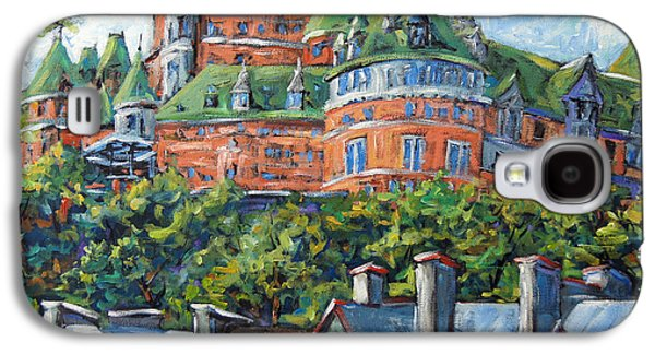Quebec Streets Paintings Galaxy S4 Cases - Chateau Frontenac by Prankearts Galaxy S4 Case by Richard T Pranke