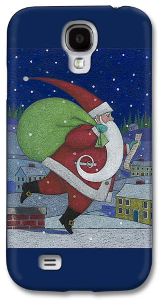 Santa Claus Paintings Galaxy S4 Cases - Checking it Twice Galaxy S4 Case by Lynn Bywaters