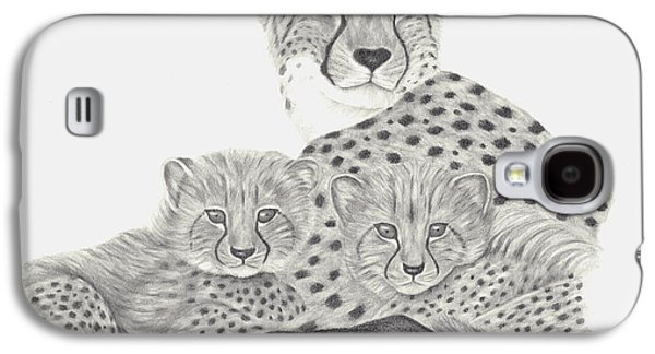 Cheetah Drawings Galaxy S4 Cases - Cheetah and her Cubs Galaxy S4 Case by Patricia Hiltz