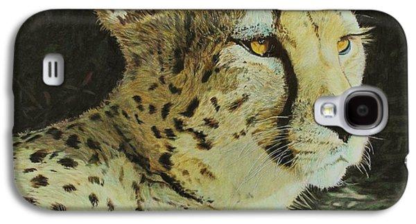 Cheetah Drawings Galaxy S4 Cases - Cheetah Galaxy S4 Case by Bernd Huss