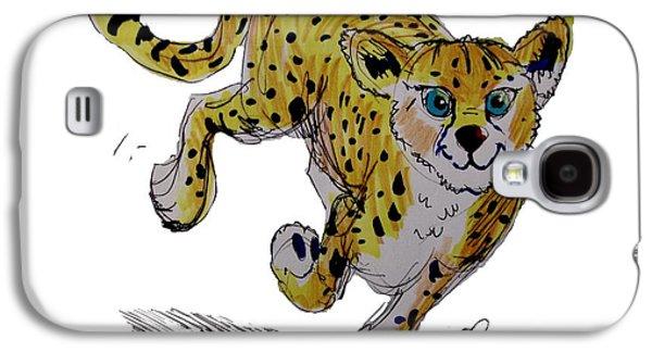 Cheetah Drawings Galaxy S4 Cases - Cheetah Cub Cartoon Galaxy S4 Case by Mike Jory