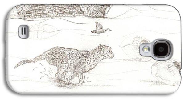 Cheetah Drawings Galaxy S4 Cases - Cheetah escape Galaxy S4 Case by Katrina Ricci
