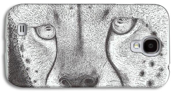 Cheetah Drawings Galaxy S4 Cases - Cheetah face Galaxy S4 Case by Todd Hodgins
