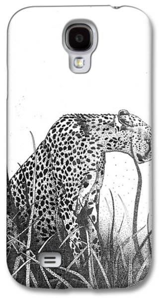 Cheetah Drawings Galaxy S4 Cases - Cheetah in long grass Galaxy S4 Case by Sue Callinan