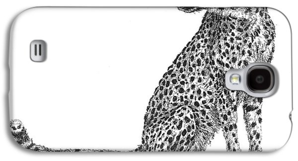 Cheetah Drawings Galaxy S4 Cases - Cheetah Galaxy S4 Case by Marianne Wurtele