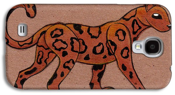 Cheetah Drawings Galaxy S4 Cases - Cheetah on Cardboard Field Galaxy S4 Case by Ian Smiley