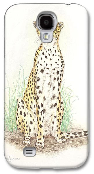 Cheetah Drawings Galaxy S4 Cases - Cheetah on lookout Galaxy S4 Case by Dag Sla
