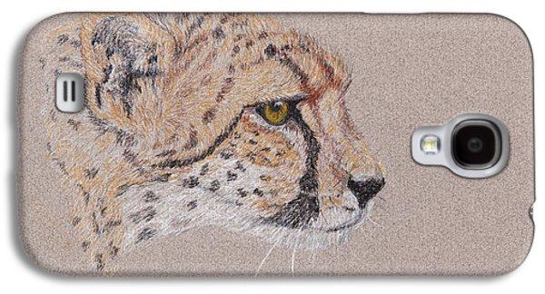 Cheetah Drawings Galaxy S4 Cases - Cheetah Galaxy S4 Case by Stephanie Grant