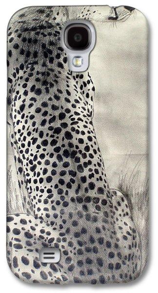 Cheetah Drawings Galaxy S4 Cases - Cheetah Galaxy S4 Case by Suzette Kallen