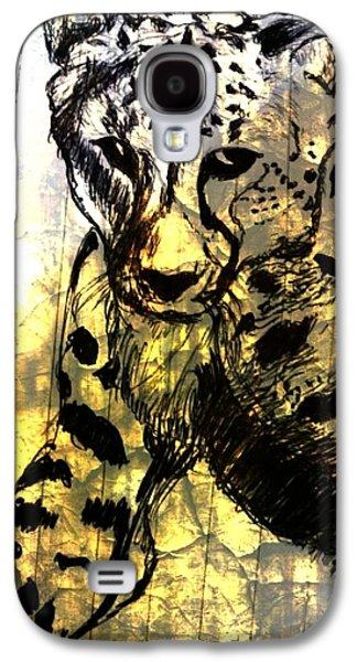 Cheetah Drawings Galaxy S4 Cases - Cheetah-The Jungle Bullet Galaxy S4 Case by Shokeen Kalyan