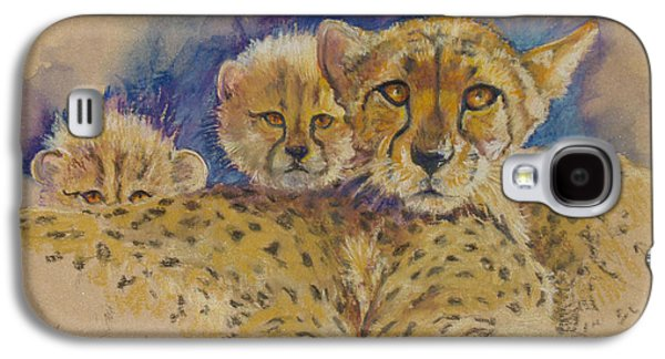 Cheetah Drawings Galaxy S4 Cases - Cheetah with cubs Galaxy S4 Case by Donna Grasso