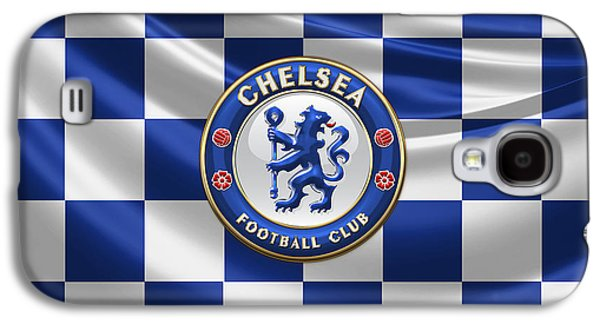 Crest Digital Art Galaxy S4 Cases - Chelsea FC - 3D Badge over Flag Galaxy S4 Case by Serge Averbukh