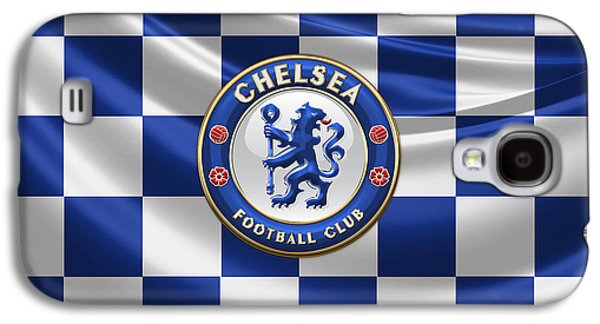 Chelsea Fc - 3d Badge Over Flag Galaxy S4 Case by Serge Averbukh