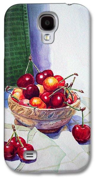 Printmaking Galaxy S4 Cases - Cherries Galaxy S4 Case by Irina Sztukowski