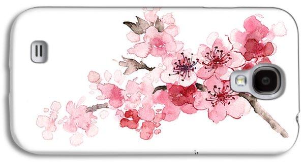 Cherry Blossom Branch Watercolor Art Print Painting Galaxy S4 Case by Joanna Szmerdt