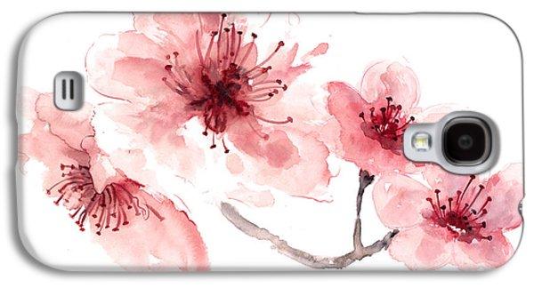Cherry Blossom Fragrance Watercolor Art Print Painting Galaxy S4 Case by Joanna Szmerdt