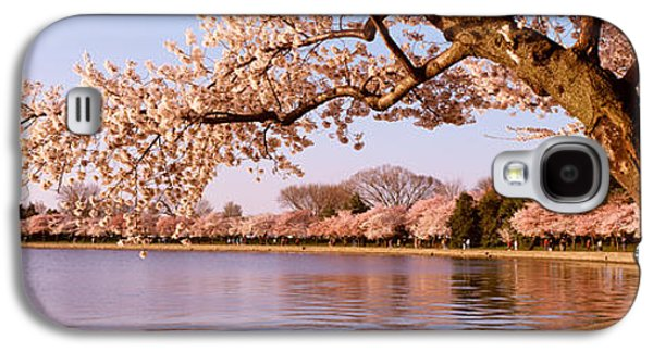Cherry Blossoms Galaxy S4 Cases - Cherry Blossom Tree Along A Lake Galaxy S4 Case by Panoramic Images