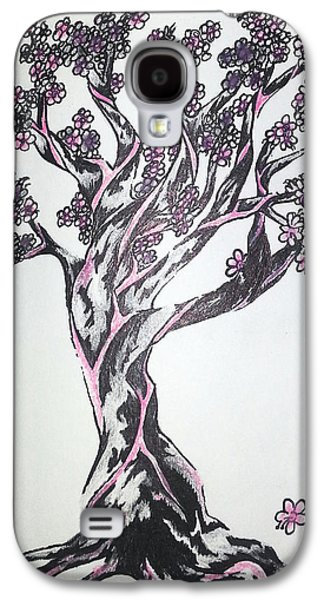 Cherry Blossoms Drawings Galaxy S4 Cases - Cherry Blossom Tree Galaxy S4 Case by Melissa Sink