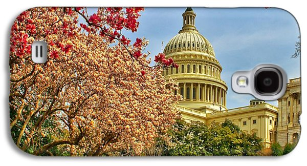 Cherry Blossoms Galaxy S4 Cases - Cherry Blossoms at the Capitol Galaxy S4 Case by Nick Zelinsky