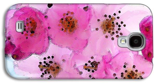 Cherry Blossoms Digital Art Galaxy S4 Cases - Cherry Blossoms - Flowers So Pink Galaxy S4 Case by Sharon Cummings