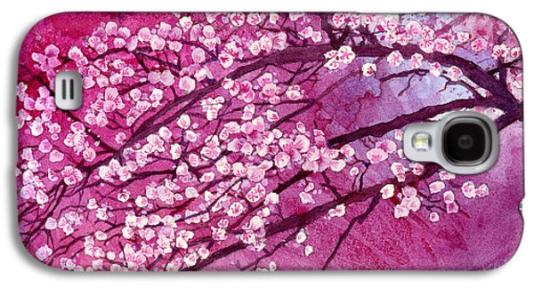 Cherry Blossoms Paintings Galaxy S4 Cases - Cherry Blossoms Galaxy S4 Case by Hailey E Herrera