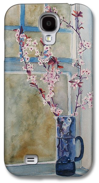 Cherry Blossoms Galaxy S4 Cases - Cherry Blossoms in a Blue Pitcher Galaxy S4 Case by Jenny Armitage