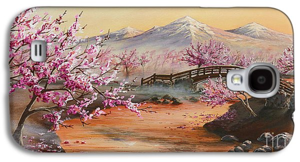 Cherry Blossoms Paintings Galaxy S4 Cases - Cherry Blossoms in the Mist Galaxy S4 Case by Joe Mandrick
